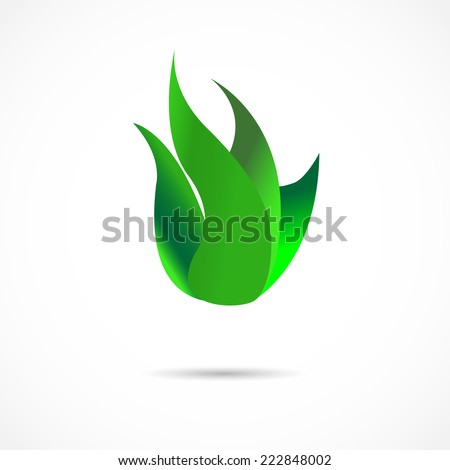 Bright Green Flame - stock vector