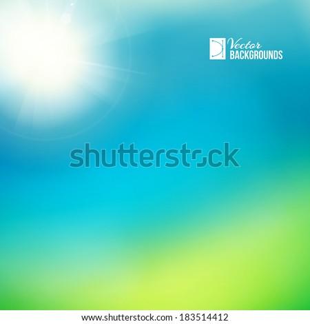 Bright green, sunny background. Vector illustration. - stock vector