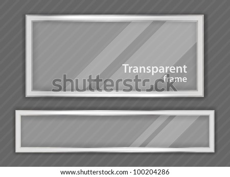 Bright grey background with two transparent frame - stock vector