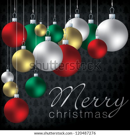 Bright group of baubles card in vector format. - stock vector