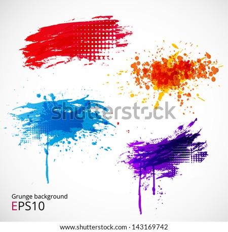 Bright grunge splashes. Vector illustration - stock vector