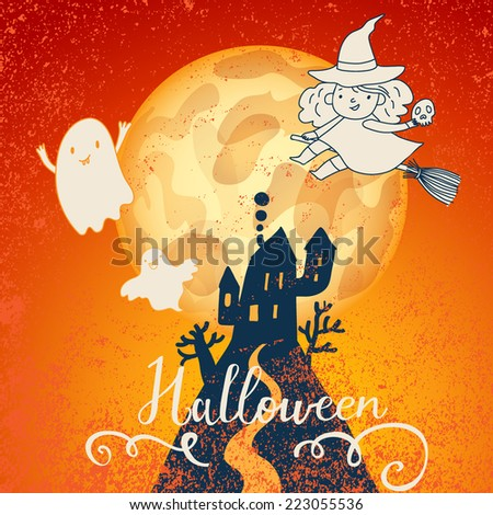 Bright Halloween card in vector. Big moon, dark castle, funny witch and cute cartoon ghosts