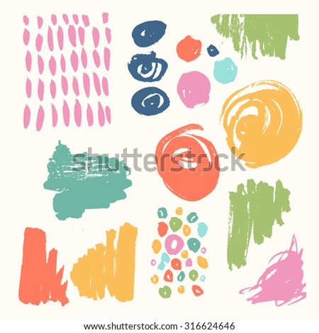bright Hand Drawn textures made with ink. Vector. Isolated.