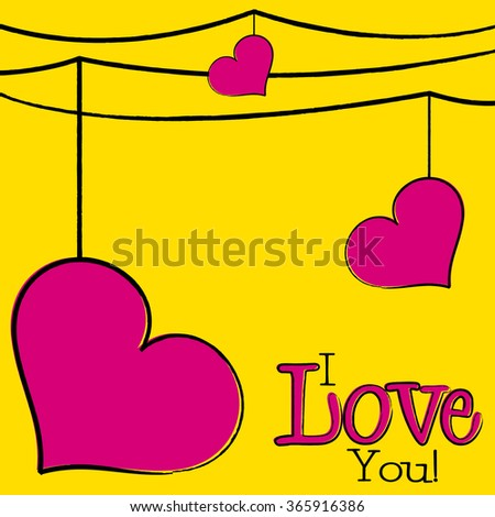 Bright hand drawn Valentine's Day card in vector format. - stock vector