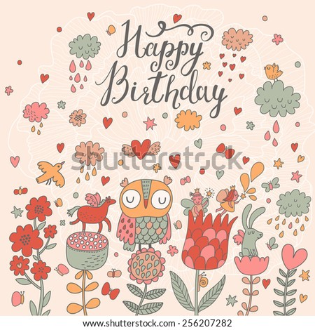 Bright Happy Birthday card with cute owl, sweet fairies, cartoon horse and rabbit. Stylish holiday background in bright summer colors  - stock vector