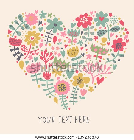 heart flowers mothers day card bright made flowers vector stock vector 6702