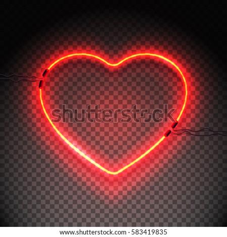 Bright Heart Neon Sign Retro Neon Stock-Vektorgrafik 583419835 ...