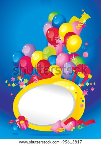 Bright Holiday composition of balloons, gift boxes, confetti, sweets, Streamer and  Frame for your text congratulations - stock vector