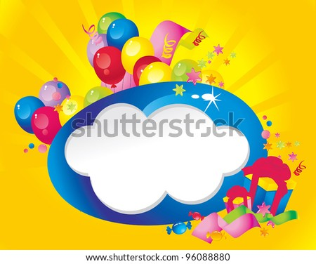 Bright Holiday composition of balloons, gift boxes, confetti,, sweets, Streamer and  Frame for your text congratulations - stock vector