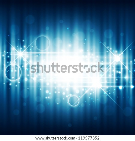 Bright Holiday Night Background With Stars and Lights - stock vector