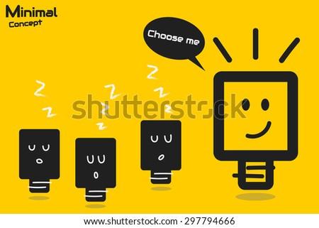 bright idea minimal concept - stock vector