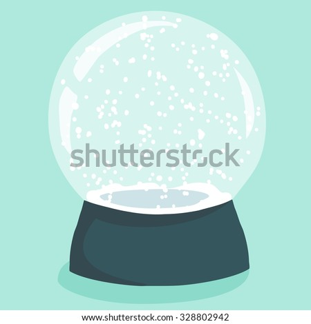 Bright illustration with cute cartoon snow globe in green stand on light-blue background. Fully editable christmas design element with empty space to place your decoration detail - stock vector