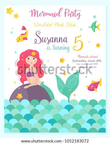 Bright Invitation Card Cute Fairy Mermaid Stock Vector Royalty Free
