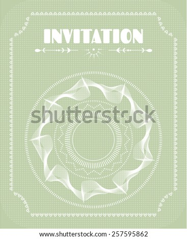 Bright invitation card with white shapes and text - stock vector