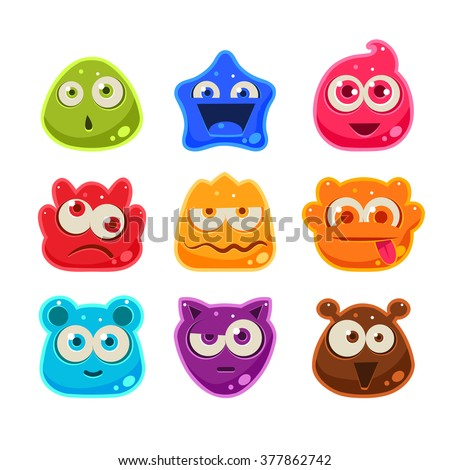 Bright Jelly Characters with Emotions. Cute Vector Illustration - stock vector