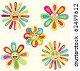 bright joyful flowers in set - stock vector