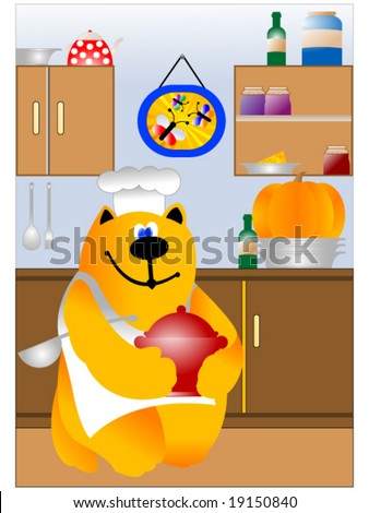 bright kitchen scene with cheerful cooking cat chef - stock vector
