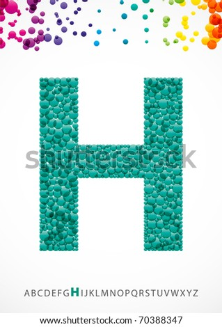 Bright letter H from the alphabet (eps10) - stock vector