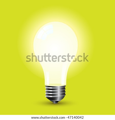 Bright light bulb standing on a green background. Vector image. - stock vector
