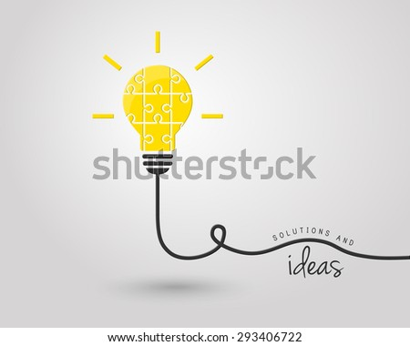 Bright lightbulb made of puzzle as idea and solution concept - stock vector