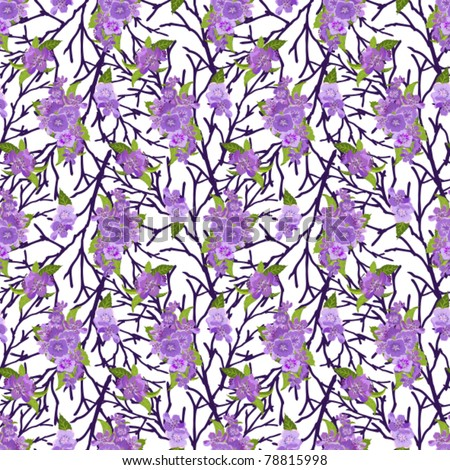 Bright lilac flowers in bouquets on black branches a seamless background - stock vector