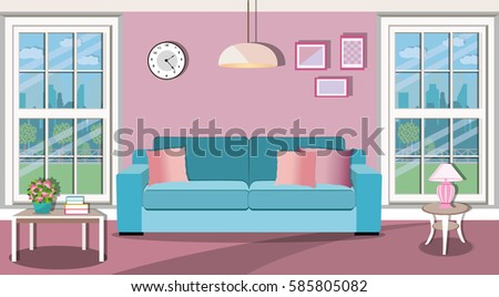 Bright Living Room Interior Design Large Stock Photo (Photo, Vector ...