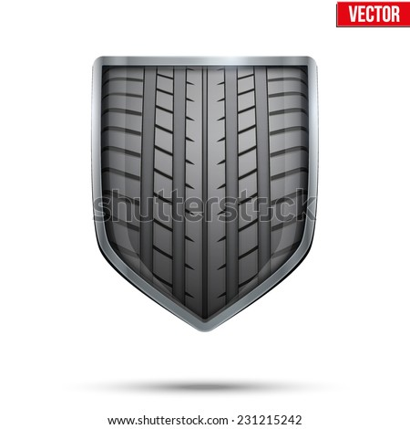 Bright metallic shield in the racing tire inside. Editable Vector Illustration isolated on white background. - stock vector