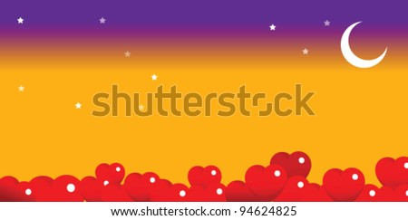bright moon in the night sky with heart shape balloons - stock vector