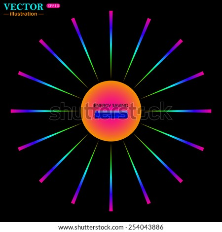 Bright multi-colored circle with rays on a black background. energy saving battery , vector illustration, EPS 10 - stock vector