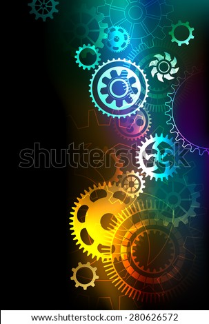 bright multicolored gears on a dark background.  - stock vector
