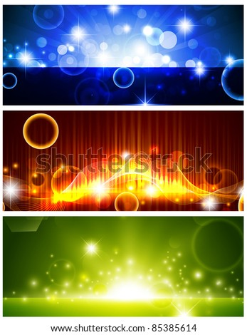 Bright multicolored glowing banners with shining stars - stock vector