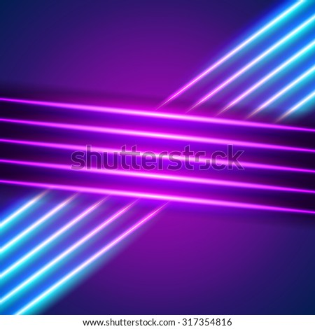 Bright neon lines background with 80s style - stock vector
