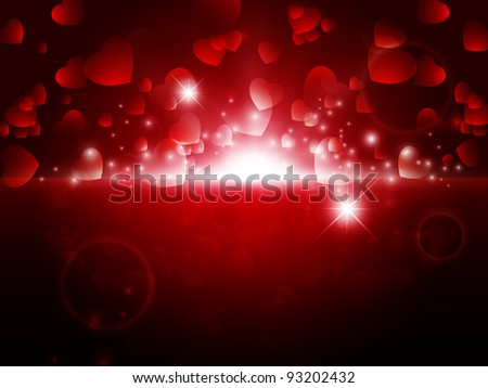 bright night Abstract Valentine background with stars and lights - stock vector