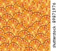 Bright orange background from slices of juicy oranges. Citrus texture background with slices of orange. Vector Illustration. - stock vector