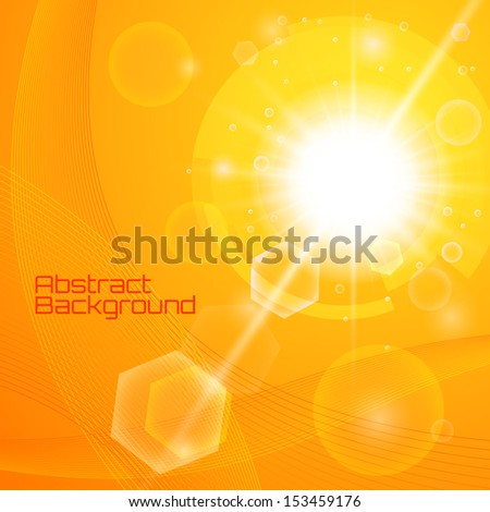 Bright orange background with a summer sun burst with lens flare. Space for your text. Vector illustration - stock vector
