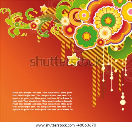 Bright orange background with corner floral ornament and free space for text. Great for get-up of your web page. - stock vector