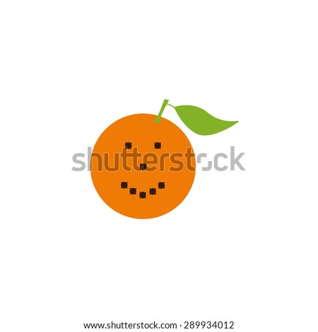 Bright orange fruit with big green leave decorated with brown cloves isolated on white background. Logo template, design element, vegetarian menu decoration. Flat style illustration - stock vector