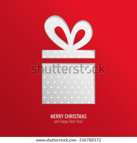 Bright paper cut out vector Christmas gift, red holiday greeting card design background with dotted present and seasonal wishes