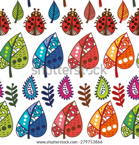 Bright pattern of lady birds and ornamental leaves. - stock vector