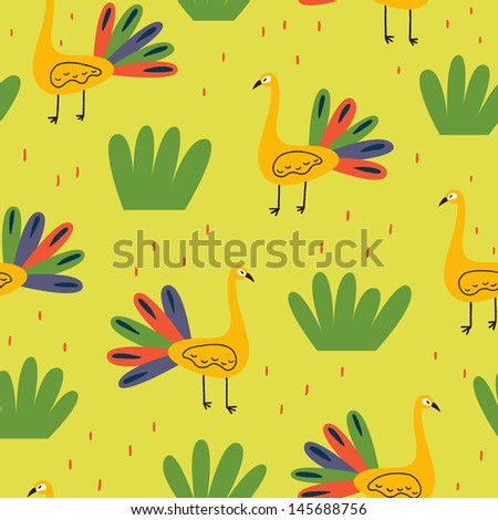 Bright pattern with colorful peacocks. Vector seamless - stock vector