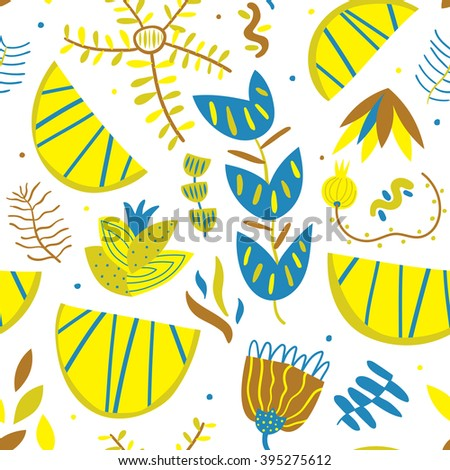Bright pattern with lemons. Seamless vector pattern with lemons and flowers. Tasty mood for great artworks - stock vector