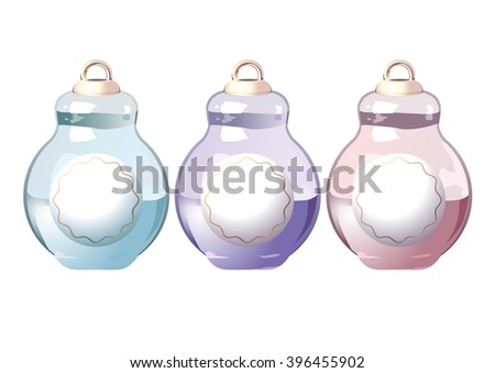 Bright perfume bottles set with empty labels. Different colors in one design.