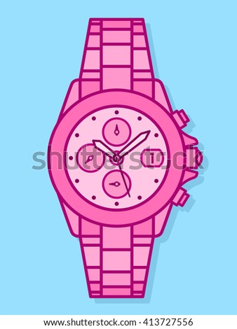 Bright pink pink cartoon watch outline vector drawing for kids with function dials, knobs and a bracelet strap - stock vector