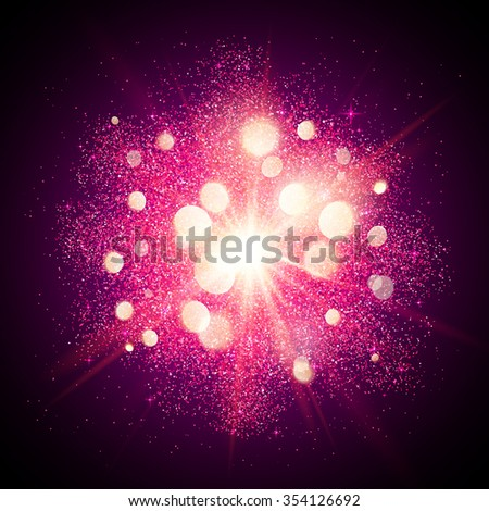 Bright pink shining vector fireworks explosion at black background - stock vector