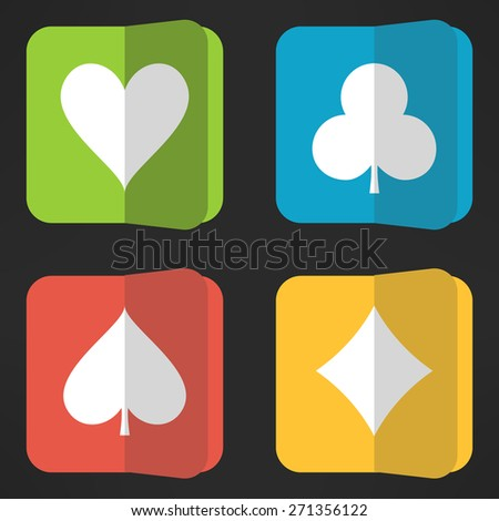 Bright playing cards suits icons set in clean simple design. Rectangular vivid card symbols with round corners. Vector illustration. - stock vector