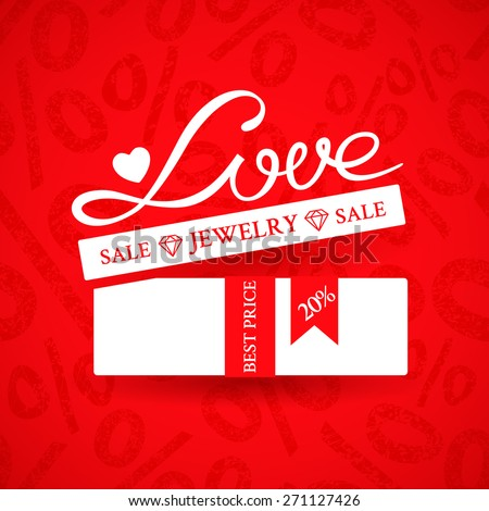 Bright promotional banner with white gift box with ribbon and inscription Love on red background with ornament of a percent sign to advertise jewelry products to the Valentine's day action - stock vector