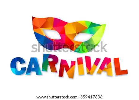 Bright rainbow colors vector carnival mask and sign - stock vector