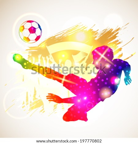 Bright Rainbow Silhouette Soccer Player and Fans on grunge background, vector illustration - stock vector