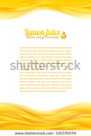 Bright realistic juice vector leaflet template for your business presentation - stock vector