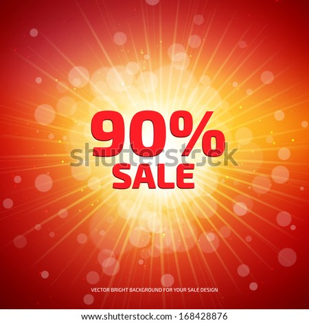 Bright red and orange Sale background with rays. - stock vector